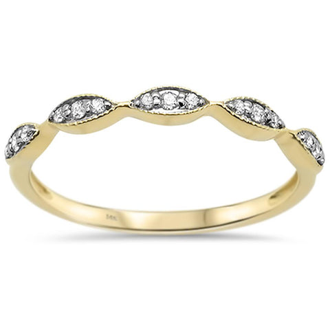 .10ct 14k Yellow Gold Diamond Accent Stackable Wedding Band Ring Size 6.5