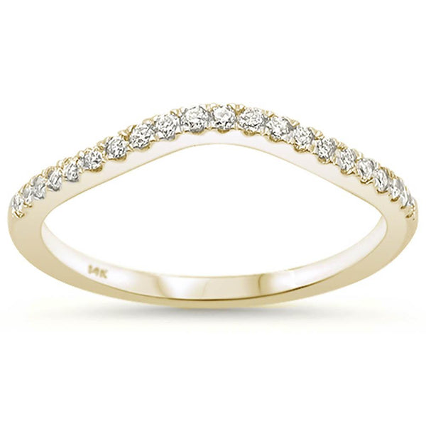 .19ct 14k Yellow Gold Stackable Wedding Anniversary Diamond Rinze 6.5
