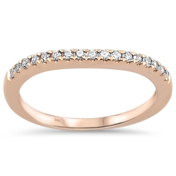 .17ct 14k Rose Gold Stackable Wedding Anniversary Diamond Ring Size 6.5