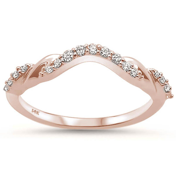 .15ct 14k Rose Gold Stackable Wedding Anniversary Curved Diamond Band