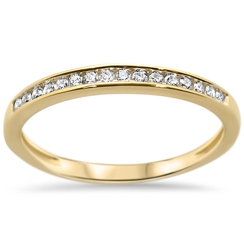.14ct 14k Yellow Gold Diamond Wedding Band Anniversary Ring Size 6.5