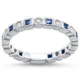 .72ct Princess Blue Sapphire 14k White Gold Eternity Band Diamond Ring 6.5