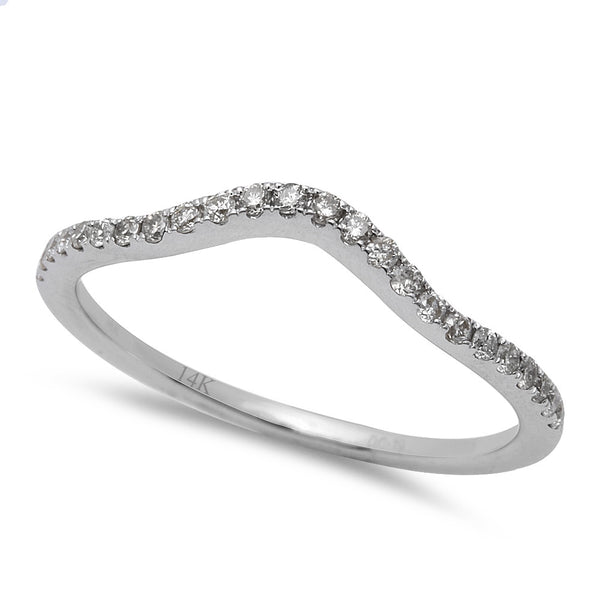 .19CT Round Diamond Diamond Curved Wedding Anniversary Band 14kt White Gold