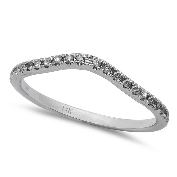 .11CT Round Diamond Diamond Curved Wedding Anniversary Band 14kt White Gold