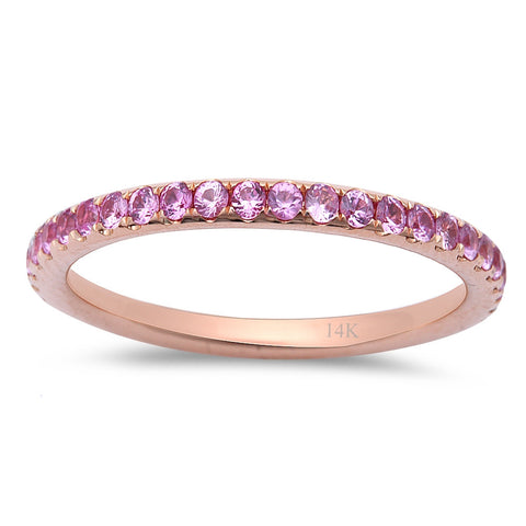 .65ct Pink Sapphire Eternity Wedding Anniversary Band 14kt Rose Gold  Size 6.5