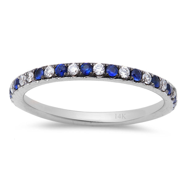 .59ct Blue Sapphire & Diamond Eternity Wedding Band 14kt White Gold  Size 6.5