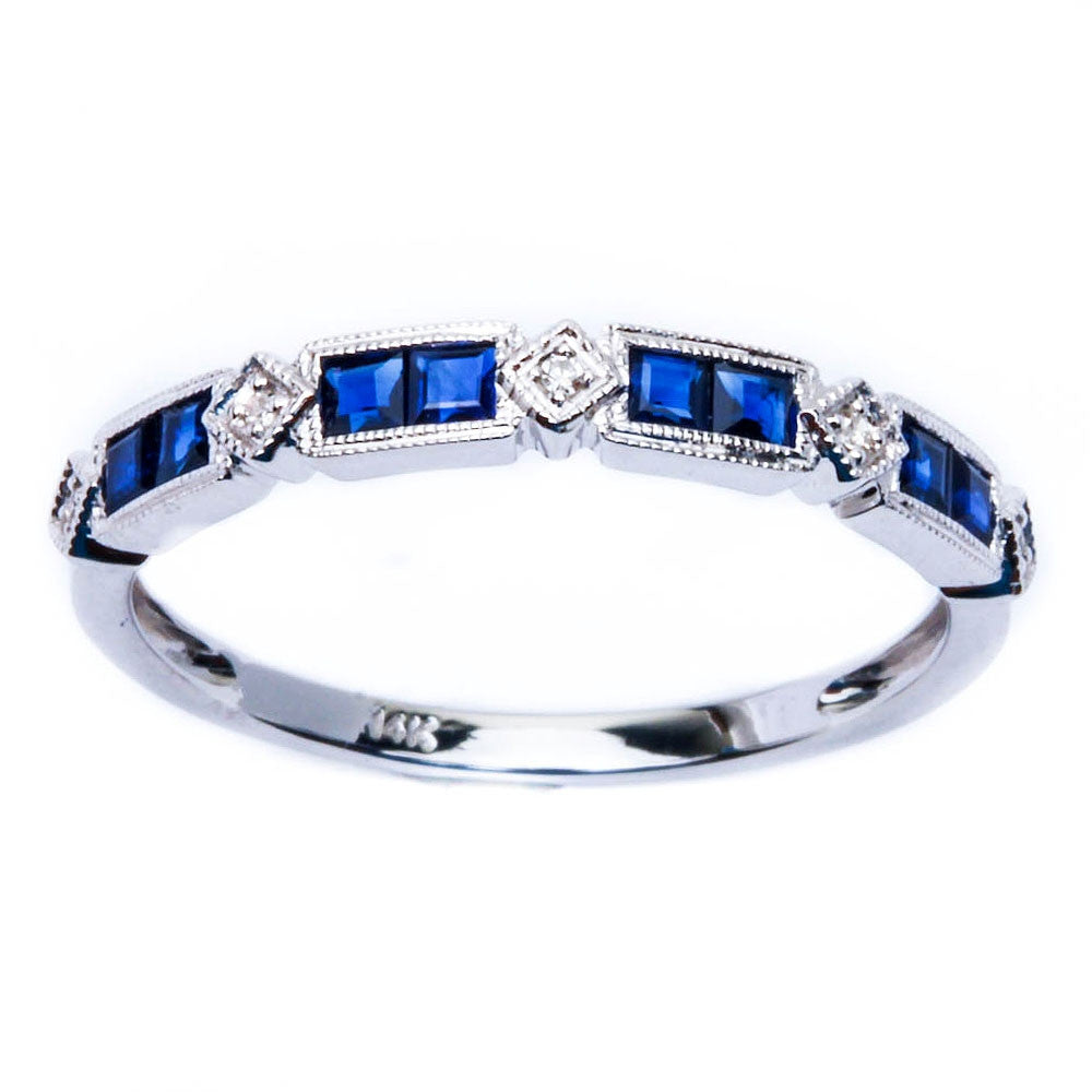 E VS 14kt White gold Milgrain Antique Style Blue sapphire & Diamond Wedding band