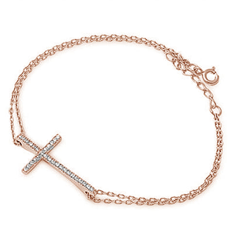 <span>CLOSEOUT!</span>Rose Gold Plated Sideways Cross .925 Sterling Silver Bracelet 5.5-6.5""