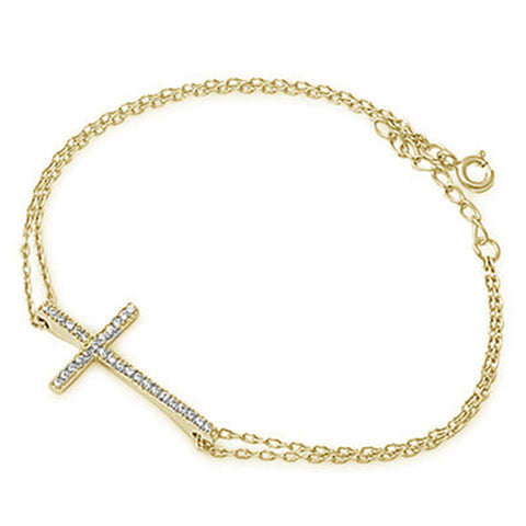 <span>CLOSEOUT!</span>Yellow Gold Plated Sideways Cross .925 Sterling Silver Bracelet 5.5-6.5""