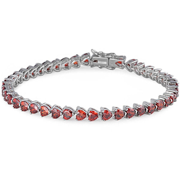 Great Gift Jan Birthstone Garnet & Russian Cz .925 Sterling Silver Bracelet 7""