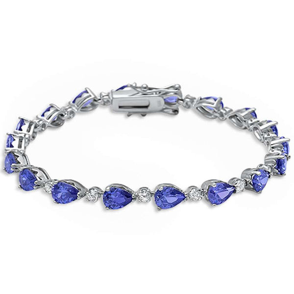 Pear Shape Tanzanite & Cz .925 Sterling Silver Bracelet