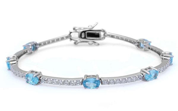 Oval Aquamarine and Cubic Zirconia .925 Sterling Silver Bracelet