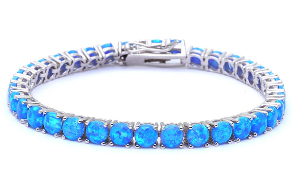 14.5CT 4 Prong Blue Fire Opal .925 Sterling Silver Bracelet