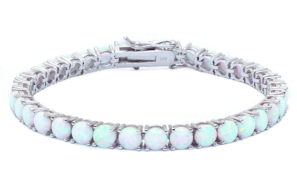 14.5CT 4 Prong White Fire Opal .925 Sterling Silver Bracelet