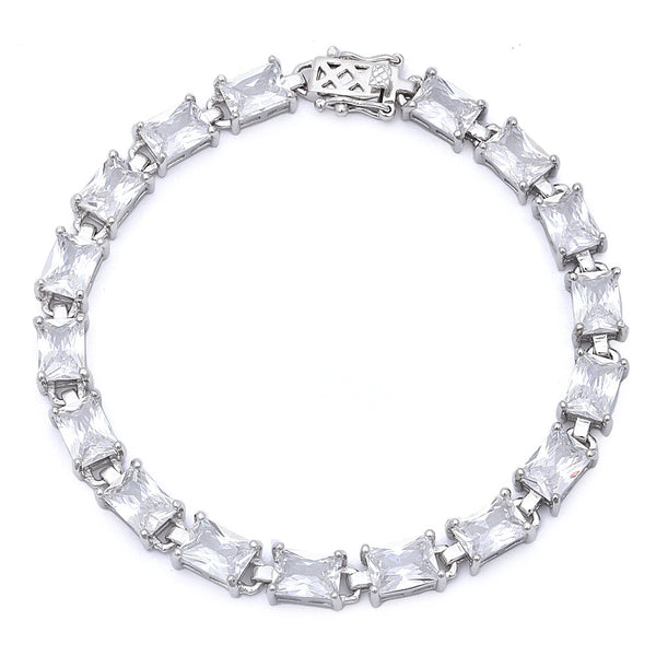 17.50ct Radiant Cut Cz .925 Sterling Silver Bracelet 7 1/4""