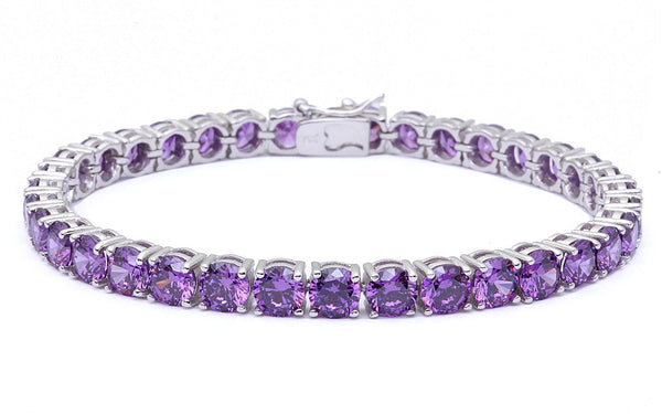 14.5CT Round Amethyst .925 Sterling Silver Bracelet