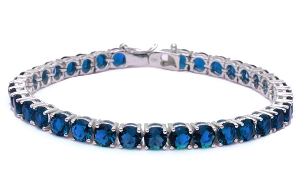 "14.5CT Deep Blue Sapphire Fashion .925 Sterling Silver Bracelet 7.5"" long"