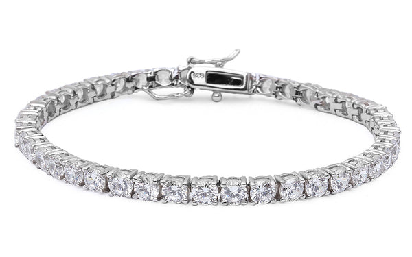 5Ct 4 Prong Russian Cz .925 Sterling Silver Tennis Bracelet 7""