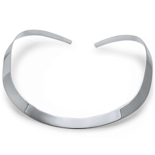 10MM Plain Collar Choker .925 Sterling Silver Necklace