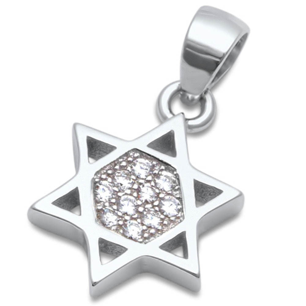 <span>CLOSEOUT! </span>Micro Pave Cz Star of David .925 Sterling Silver Pendant