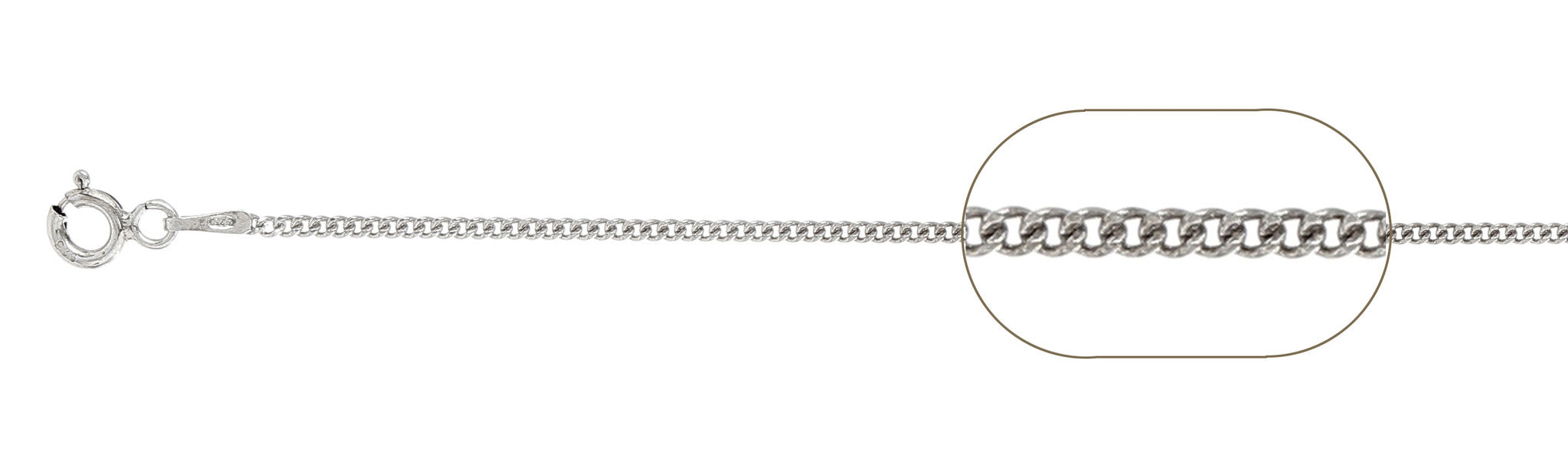 "040-1.5MM Sterling Silver Curb Chain Made in Italy Available in 16""- 30"" inches"