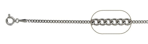 "050-1.7MM Rhodium Plated Sterling Silver Curb Chain Made in Italy Available in 16""- 20"" inches"