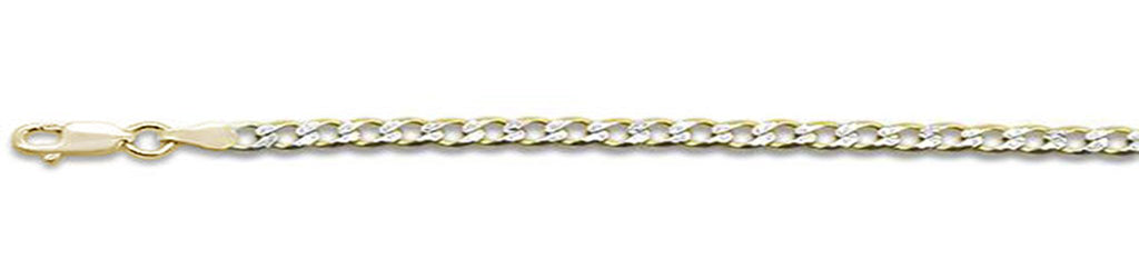 "080-3MM Yellow Gold Plated Pave Curb Chain .925  Solid Sterling Silver Available in 7""- 30"" inches"