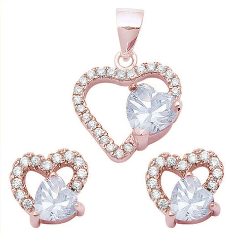 Rose Gold Plated White CZ Heart .925 Sterling Silver Earring & Pendant Jewelry set