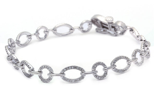 ".55ct F SI Ladies Round Diamond Bracelet 7"" Long Great Gift!"