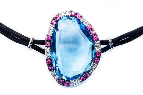 "14kt White Gold Genuine Blue Topaz, Ruby & Diamond Black cord Bracelet 7"" Long"