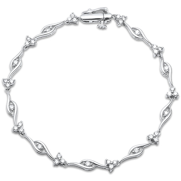 "1.0ct G SI 14kt White Gold Diamond Elegant Bracelet 7.5"" Long"