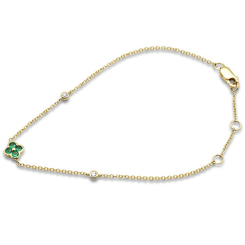 0.16cts 14k Yellow Gold Round Emerald Diamond Bracelet