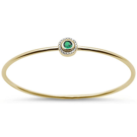 ".31cts 14k Yellow Gold Round Green Emerald & Diamond Bangle 7"" Wrist"
