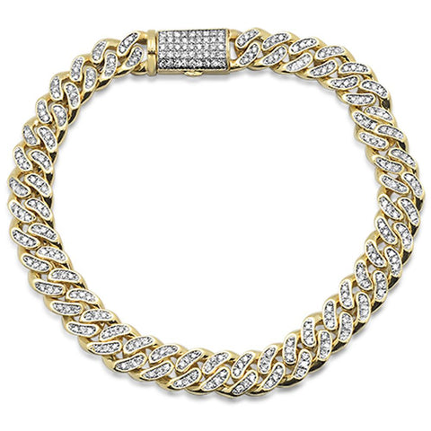 2.92ct 14kt Yellow Gold Micro Pave Curb Link Bracelet 8.5""