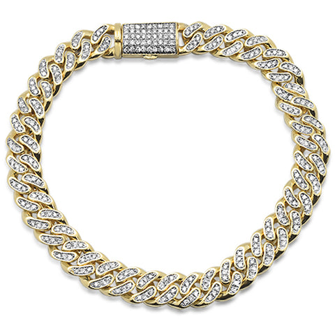 "2.88ct 9mm 10k Yellow Gold Men's Diamond Micro Pave Cuban Hip Hop Bracelet 8.5"" Long"