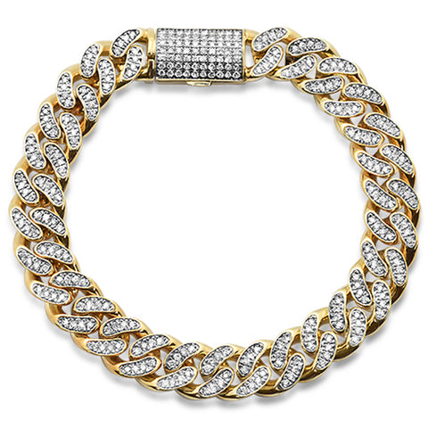 "4.18ct 12mm 10k Yellow Gold Diamond Micro Pave Cuban Link Bracelet 8.5"" Long"