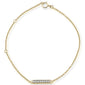 ".09ct 14kt Yellow Gold Diamond Trendy Bar Bracelet 7"" Long Adj"