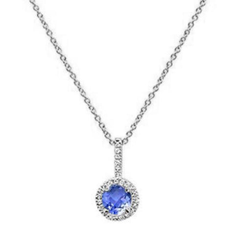 ".77ct 10K White Gold Tanzanite & Diamond Pendant Necklace 18"" Long"