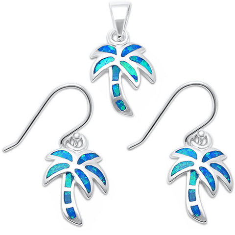 Blue Opal Palm Tree .925 Sterling Silver Earrings & Pendant Set