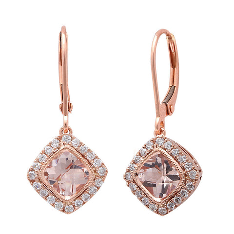 1.56CT F VS Morganite & Diamond Drop Dangle Halo Style 14kt Rose gold Earrings