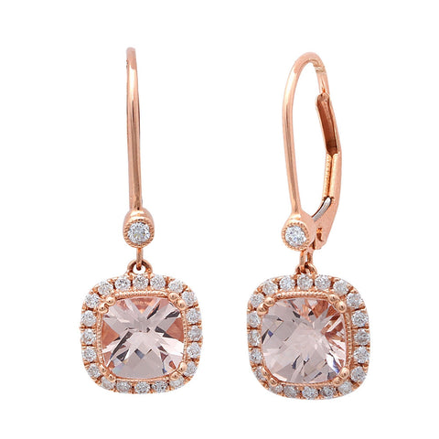 2.00CT F VS Morganite & Diamond Drop Dangle Halo Style 14kt Rose gold Earrings