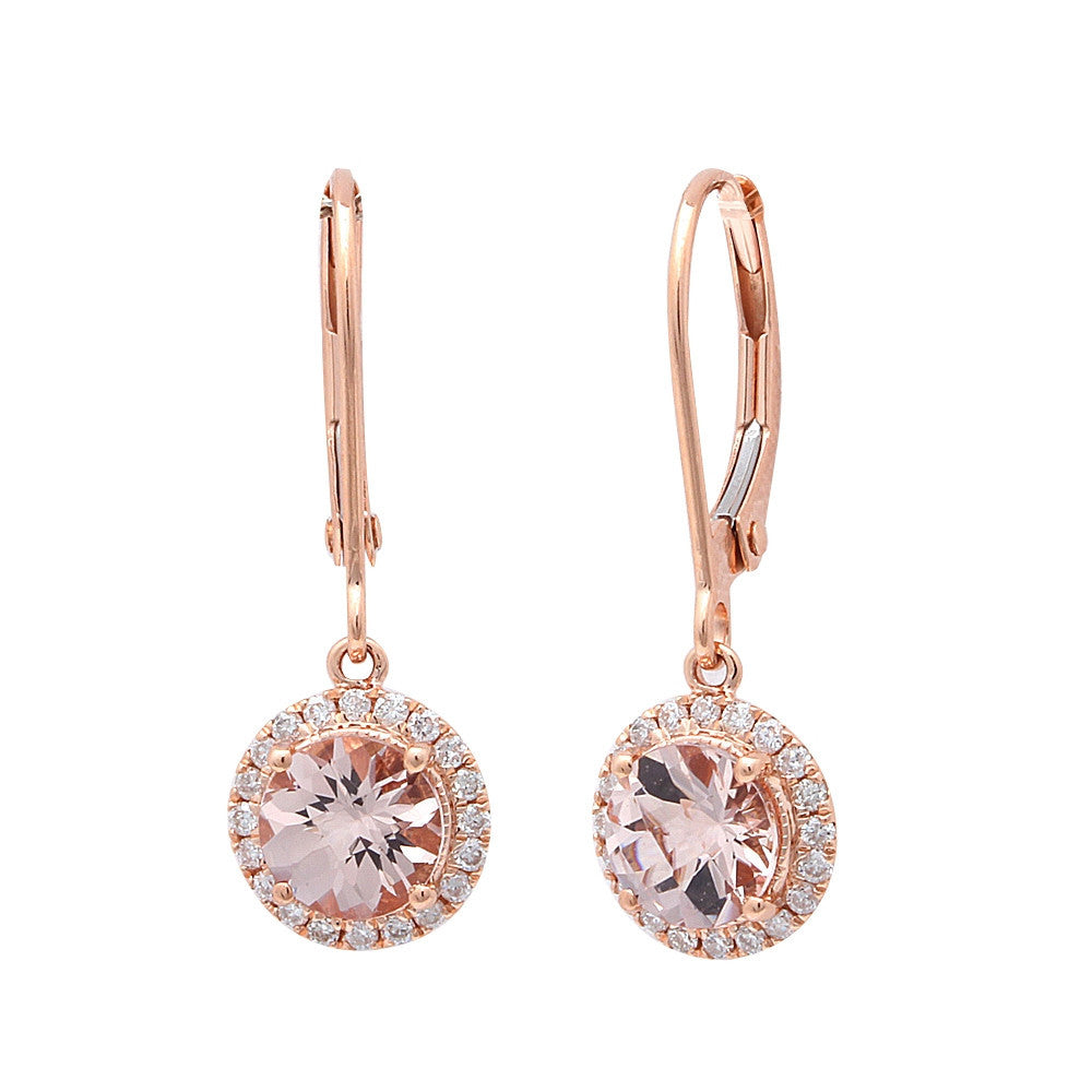 1.26CT F VS Morganite & Diamond Drop Dangle Halo Style 14kt Rose gold Earrings