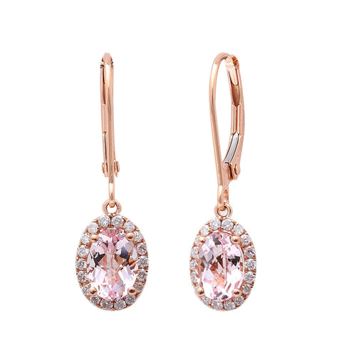 1.53CT F VS Morganite & Diamond Drop Dangle Halo Style 14kt Rose gold Earrings