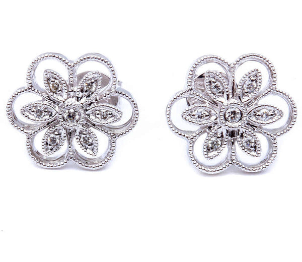Designer 14kt White Gold Antique Style Diamond Flower Motif Stud Earrings