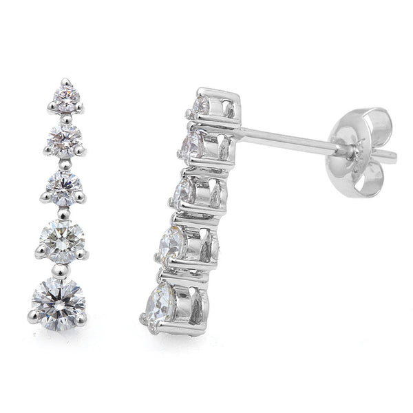 .55cts 5 Round Diamond Journey Stud Earrings Drop Dangle 14kt White Gold