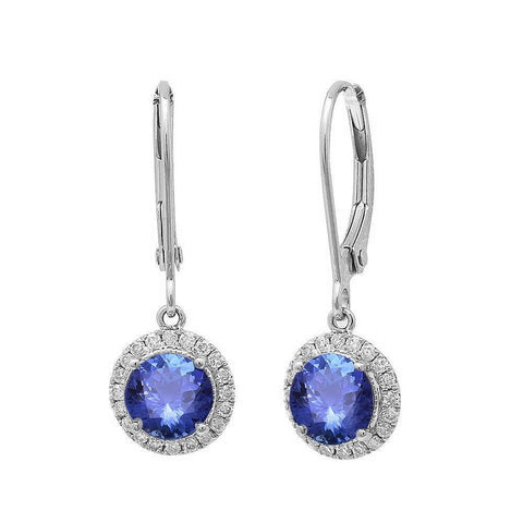 3.88CT 14kt White Gold Tanzanite & Diamond Earrings