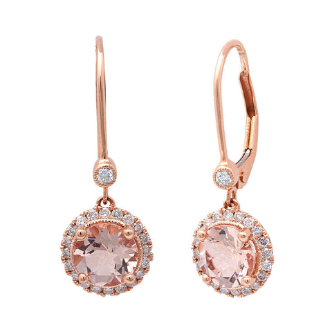 1.75CT F VS Morganite & Diamond Drop Dangle Halo Style 14kt Rose gold Earrings