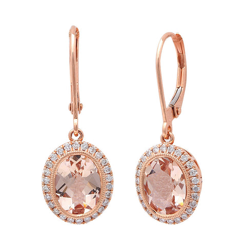 2.46CT F VS Morganite & Diamond Drop Dangle Halo Style 14kt Rose gold Earrings