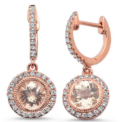 2.67cts 14k Rose Gold Round Morganite & Diamond Drop Dangle Earrings