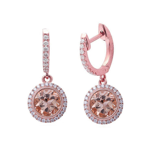 1.73CT F VS Morganite & Diamond Drop Dangle Halo Style 14kt Rose gold Earrings